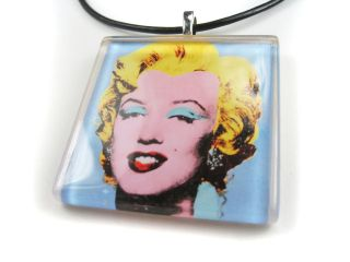 Andy Warhols Blue Marilyn Monroe 1 Square Glass Pendant Necklace
