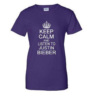 KEEP CALM AND LISTEN TO JUSTIN BIEBER LADIES T Shirt XS 3XL KCJ