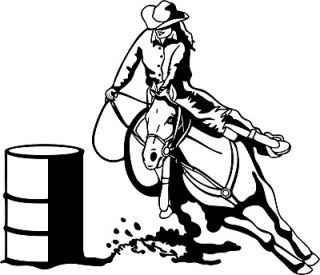 barrel racing decal rodeo window sticker 00 wr 6 time