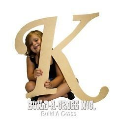 Unfinished Wooden Letter (K) 24 Big Paintable Cutout Craft Letters