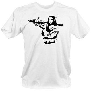 MONA LISA Banksy style COOL t shirt XL street graffiti gun weapons