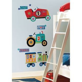 New Large TRANSPORTATION WALL DECALS Cars Trains Tractor Baby Boys