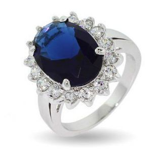 Royal Ring  Kate Middleton / Diana Sapphire Ring Solid Silver Simply
