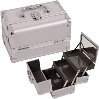 Train Case Cosmetic Organizer w/ Mirror 3 trays M101 Pink Jewelry Box