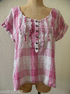 Selena Gomez Top Shirt Blouse Plaid Dream Out Loud Hot Pink Grey Size