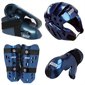 Lightning Karate Tae Kwon Do Sparring Gear Pads Set Blue Child