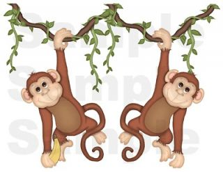 NOAHS ARK MONKEY JUNGLE NURSERY BABY KIDS ROOM WALL BORDER DECALS