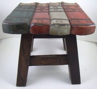 Hand Carved Library Books Wooden Child Step Stool