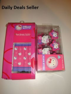 HELLO KITTY GIRLS SHOWER CURTAIN or 12 Bath Tub HOOKS or Set 70in x