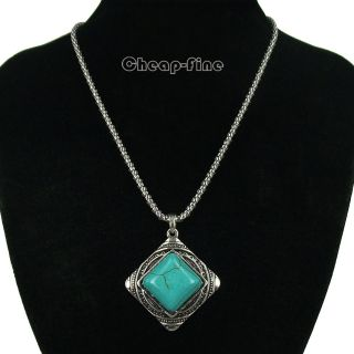 Retro style Tibetan silver Square Turquoise Charms Pendant Necklace
