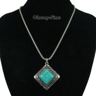 Retro style Tibetan silver Square Turquoise Charms Pendant Necklace
