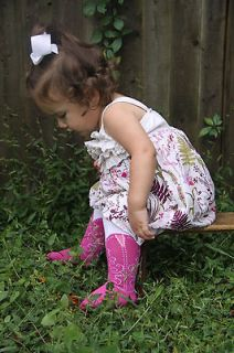 /TODDLER COWBOY BOOT TIGHTS, PINK BOOTZIES, SZ 6 18 MOS,LOOK REAL