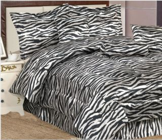 Piece King Size Zebra Print Satin Jacquard Comforter Set (Bed in a