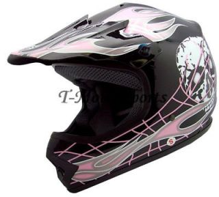 youth black pink skull dirt bike motocross helmet mx s