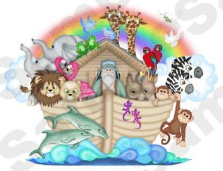 NOAHS ARK JUNGLE ANIMALS NURSERY BABY KIDS ROOM WALL STICKER BORDER