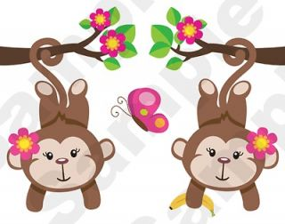 GIRL JUNGLE MONKEY PINK NURSERY BABY KIDS ROOM WALL BORDER STICKERS