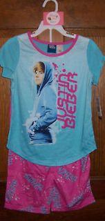 Justin Bieber Short Sleeve 2 Piece Set Blue White Pink Pajama Girls L