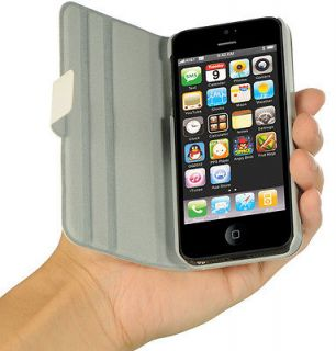 NEW LUXMO WHITE DOLCE BOOK CASE VIEWING STAND COVER FOR APPLE iPHONE