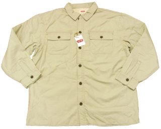 LEVIS Mens Fleece Lined Khaki Button Down Military Jacket Coat NWT