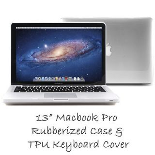 Clear Rubberized Hard Case Skin for MacBook Pro 13+TPU Keyboard Cover