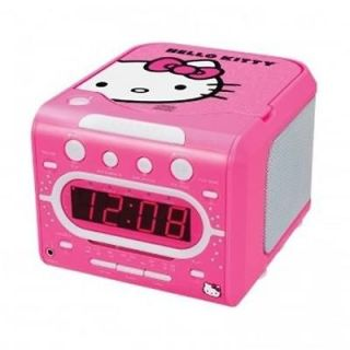 HELLO KITTY AM FM Alarm Clock Radio With Built In CD Player Stereo LED