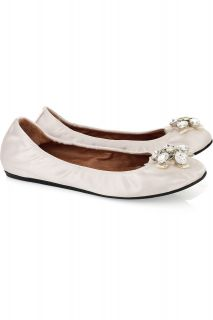 2012 LANVIN WHITE SATIN CRYSTAL PERFECT WEDDING BRIDAL FLATS EU 39.5 8