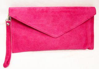 Genuine Real Suede Leather Envelope Clutch Shoulder Evening Prom