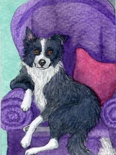 Border Collie dog pup armchair sheepdog signed ACEO art card print