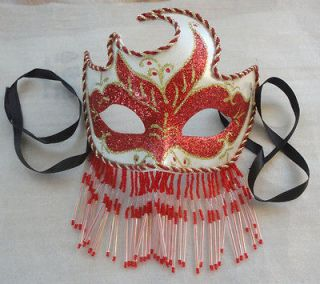 WHITE VENETIAN RENAISSANCE BURLESQUE MARDI GRAS COSTUME FACE EYE MASK