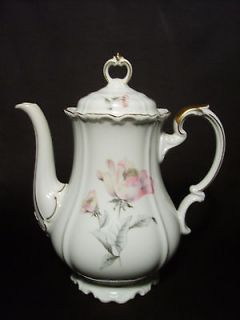 EDELSTEIN BAVARIA MARIA THERESIA IRISH ROSE COFFEE POT PINK FLOWERS