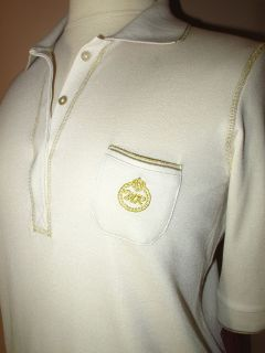 Marina Rinaldi Max Mara Beige Silk Cotton Gold Crown Logo Polo Shirt