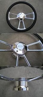 94 CHEVY GM TRUCK C 10 S 10 BILLET STEERING WHEEL W/ CHEVY MARK HORN