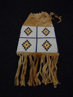 Native American beaded bag 1950s 60s beaded design on Indian tanned