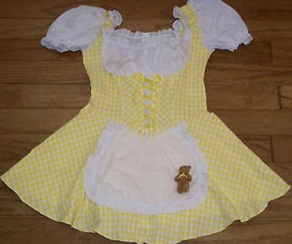 Leg Avenue Yellow Gingham Check Goldilocks Teddy Bear Costume Dress