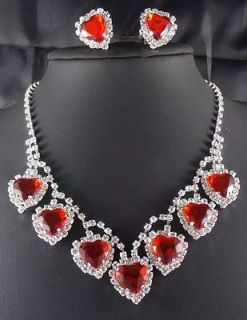 Wedding Bridal Love Ruby Heart crystal necklace earring Silver Jewelry