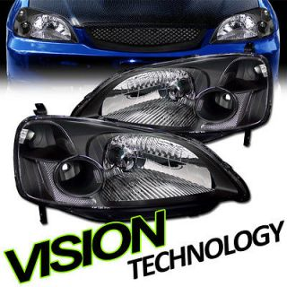 Honda Civic 2D/4D JDM Black Housing Clear Len Crystal Headlights RH+LH