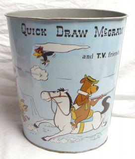 QUICK DRAW MC GRAW & HUCKLEBERRY HOUND LARGE METAL TRASH CAN 1960s