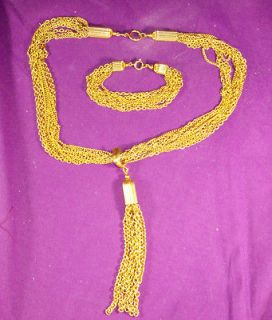 VINTAGE MULTI STRAND NECKLACE/BRACELET DEMI/SET GOLDTONE W/LONG TASSEL