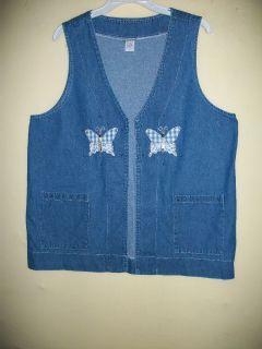 women plus l 16 18 denim vest butterfly applique studs