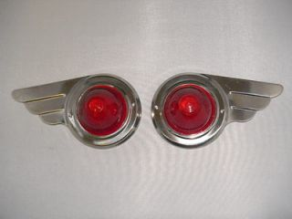 travel trailer vintage Deco Wing Lights 1 Pair red bullet lens steel