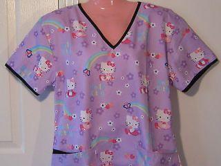 NEW Scrubs Top Wrap Hello Kitty Purple SMALL Medical Nursing