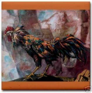 vela zanetti cockfight gallo de pelea ceramic art tile returns