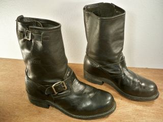 Leather Motorcycle Biker Mens Harness Riding Engineer Boots 8 M