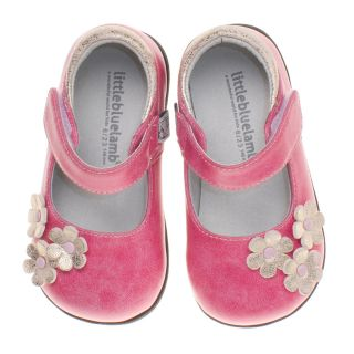 Little Blue Lamb Pink Flower Mary Janes Leather Shoes Toddler Girl Sz