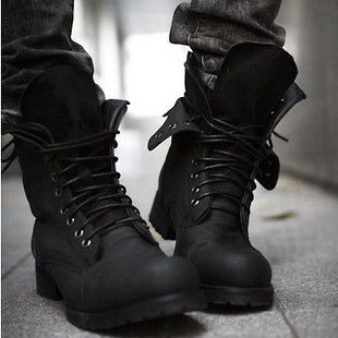 Combat boots Winter England style fashionable Mens short Black shoes