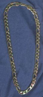 Newly listed MENS 14 KT GOLD EP 24 10 MM WIDE FIGARO BLING NECKLACE