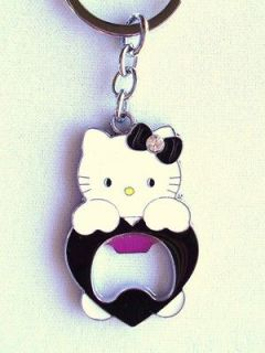 Hello Kitty Key Chain Key Ring Fob BLACK BOTTLE CAP OPENER USA Fast