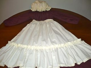 Girls 14 16 Pioneer/Colonial/Prairie Old Fashioned Costume Wine/Crm