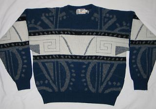 /Wool Mens BILL COSBY Ugly Xmas Sweater London Fog Geometric ~ Large