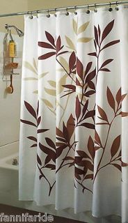 Newly listed BROWN & TAN LEAVES on WHITE FABRIC SHOWER CURTAIN